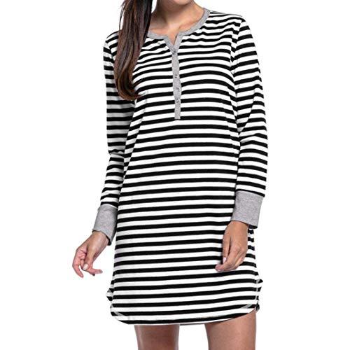 Amphia Ropa Embarazadas Vestido Vestido de Lactancia de Maternidad de Rayas botón camisón de Manga Larga de Las Mujeres Negro