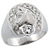 Sterling Silver Mens Horse Shoe & Head Ring w/ Brilliant Cut CZ Stones, 11/16 in. (17.5mm) wide, size 14