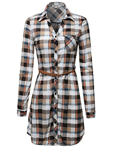 Plaid Button Up Shirt Dress With Detachable Faux Leather Belt White Brown Size S (Stitch Leather Dress Belt)