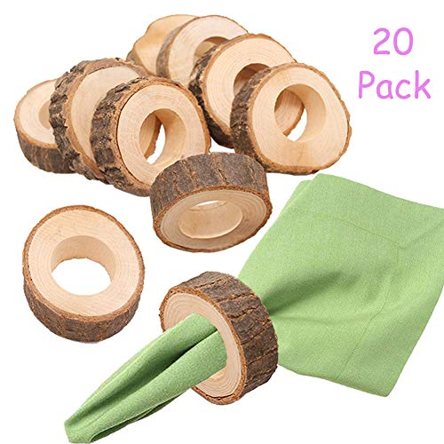 Aimyoo Rustic Wooden Napkin Rings Natural Wood Napkin Holder for Dinner Table Decoration Wedding Party Adornments (Pack of 20)