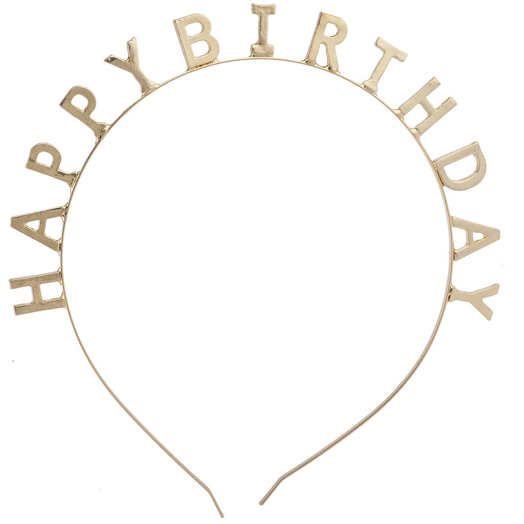 Lux Accessories Gold Tone Happy Birthday Bday Festive Party Favor Headband by Lux Accessories