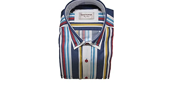 Sartoria By Lebos Mens White /& Multicolor Stripes Long Sleeve 2 Chest Pockets Shirt