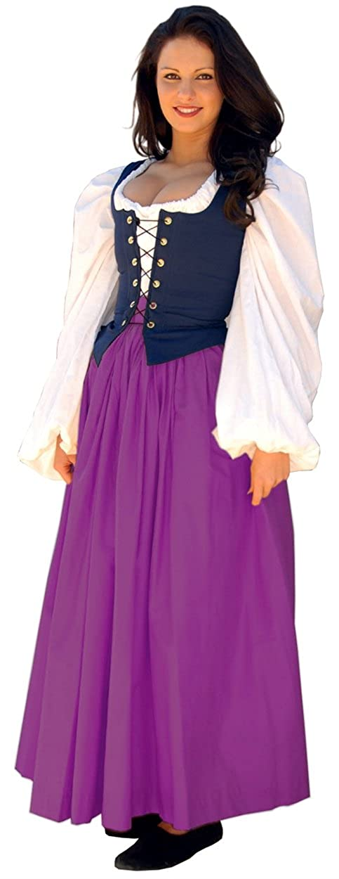 Renaissance Gathered Soft Cotton Berry Skirt by Sofi's Stitches - DeluxeAdultCostumes.com