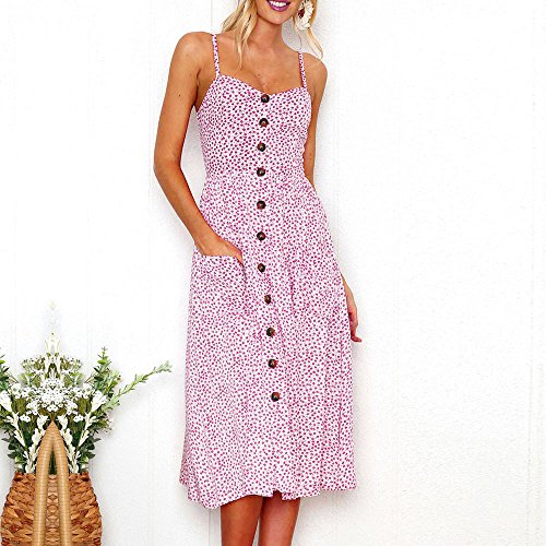Falda Sleeveless Off NREALY Dress Buttons Princess Sexy Dress Shoulder Womens Pink Printing AqadH
