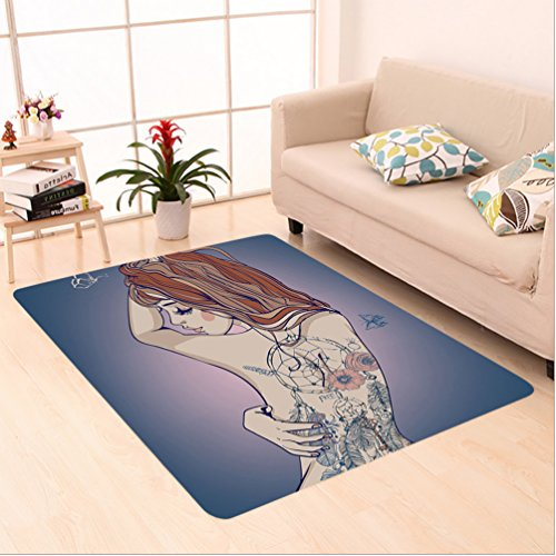 Nalahome Custom carpet y Woman Posing with Tribal Dreamcatcher Tattoos on Her Back Nudity Human Body Graphic Work Multi area rugs for Living Dining Room Bedroom Hallway Office Carpet (6' X 9')