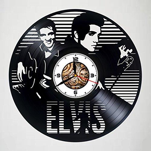 ELVIS PRESLEY - Handmade Vinyl Record Wall Clock - Artwork gift idea for birthday, christmas, women, men, friends, girlfriend boyfriend and teens - Original Gift - Art Design - Customize your clock (Buckle Elvis)
