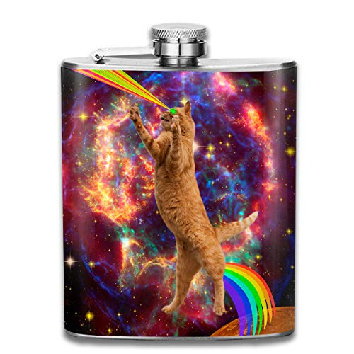 Men and Women Thick Stainless Steel Hip Flask Outdoor Mini Portable Super Laser Beam Space Cat Portable Adult Pocket Flagon Whiskey Container Flask Pocket 7 Oz 304 Thick for Unisex