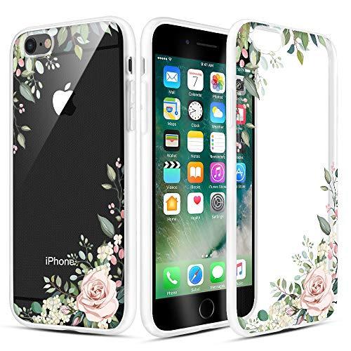 Caka iPhone 6 Case, iPhone 6s Clear Floral Case Flower Pattern Floral Series Slim Girly Anti Scratch Excellent Grip Premium Clarity TPU Crystal Case for iPhone 6 iPhone 6s 4.7 inch (Light Green)
