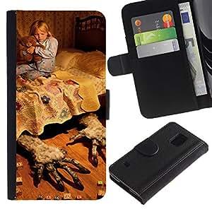 A-type (Mothers Child Sleep Bed Night) Colorida Impresión Funda Cuero Monedero Caja Bolsa Cubierta Caja Piel Card Slots Para Samsung Galaxy S5 V SM-G900