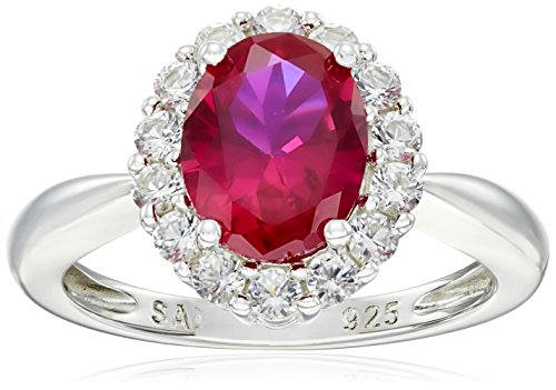 Sterling Silver Created Gemstone and Created White Sapphire Ring