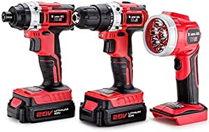 Baumr-AG Alpha 200 Series 3-Piece 20V Lithium Combo with Cordless Drill, Impact Driver, Charger, 2 x Batteries, Torch and Bag