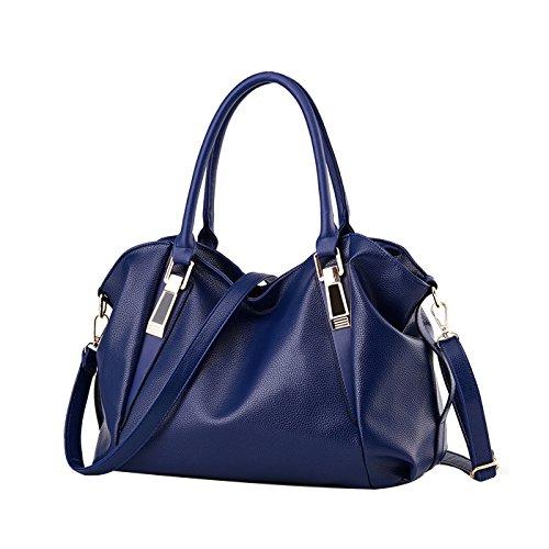 Bag Dama Moda Cuero Bolsa Grande Messenger Bolso Suave Casual Hombro Mano Tisdaini Azul Pu Pw1dtP