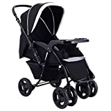 Two Way Stroller, Baby Foldable Conversable Pushchair w/5- Point Safety Harness, Sleeping Cushion, Storage Basket, Free Standing by Costzon (Deluxe Black)