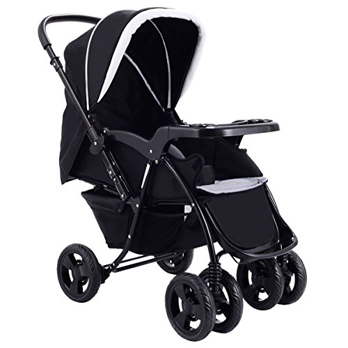 Two Way Stroller, Baby Foldable Conversable Pushchair w/5- Point Safety Harness, Sleeping Cushion, Storage Basket, Free Standing by Costzon (Deluxe Black) by Costzon
