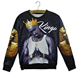 Hiphop Star Men Sweatshirt 3d Tupac Shakur 2pac Pullover Hoodies Sweater (S)