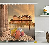 Ambesonne Ancient India Shower Curtain by, Girls Near Traditional Oriental Building Antique Meditation Zen Lands Image, Fabric Bathroom Decor Set with Hooks, 75 Inches Long, Sand Brown