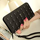 Women Skull Long Zipper Wristlet PU Leather Wallet Purse Handbag (Style 1)