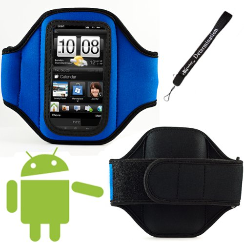 Blue Comfy Sport band / Workout Armband Adjustable Neoprene Velcro Strap For Blackberry 8520 / Bold 9780 / Bold 9900 / Curve 3G 9300 / Curve 9360 / Torch 9800 / Torch 9810 / Torch 9850 / 9830 / 9790 / Porshe Design P'9981 / 9370 / 9930 / Bold 9650 / Storm 2 9550 / Curve 8520 + Includes an eBigValue Determination Hand Strap Key Chain Strap