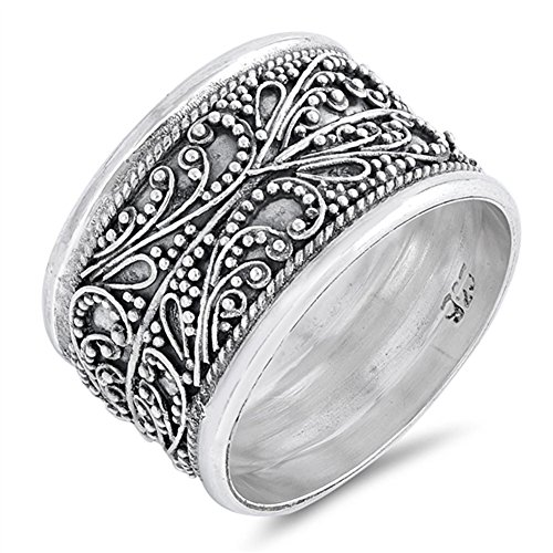 Bali Band Ring (Handmade Wide Vintage Filigree Bali Bead Ring Sterling Silver Band Size 10)