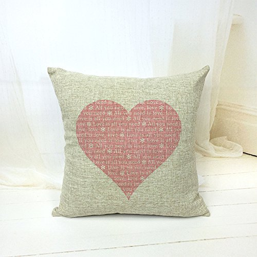 NEW Cotton Linen Decorative Throw Pillow Case Cushion Cover Pink Heart Home Gift eBay