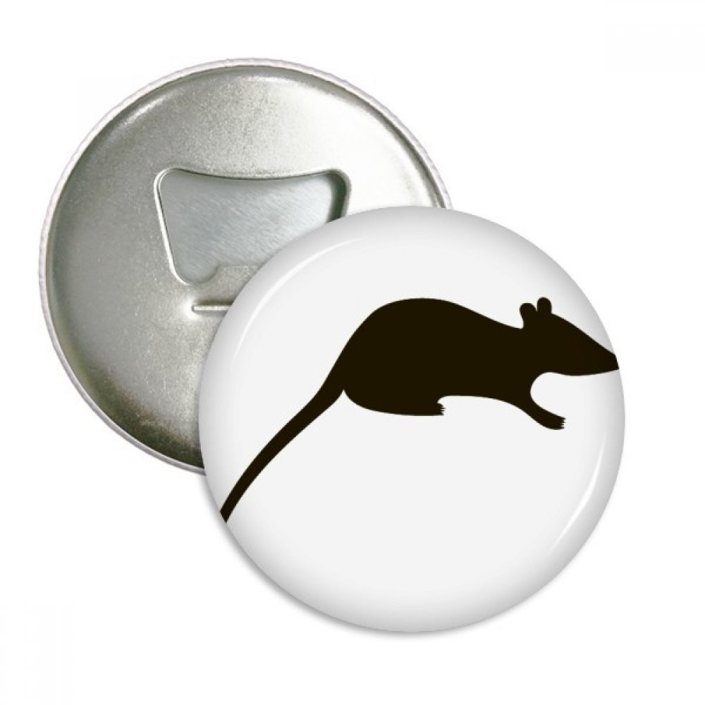 Black Mouse Animal Portrayal Round Bottle Opener Refrigerator Magnet Badge Button 3pcs Gift