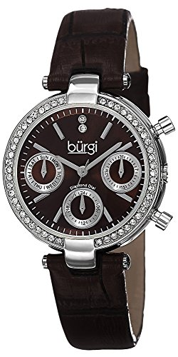 Burgi Women's BUR129BR Diamond & Crystal Accented Multifunction Silver and Brown Leather Strap Watch