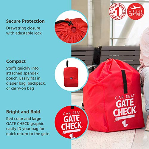 51%2BgXlo84UL - J.L. Childress Gate Check Bag For Car Seats - Air Travel Bag - Fits Convertible Car Seats, Infant Carriers & Booster Seats, Red