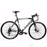 BAVEL Ultra Light Aluminum 21 Speed 700C Road Bike Racing Bicycle Shimano 48cm/54cm (black + white, 54cm)