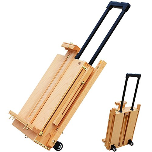 (Kuyal Easel & Sketchbox with Drawer,Pull Rod Tabletop Easel,Wooden Pallete &Wheels (HBX-2) )