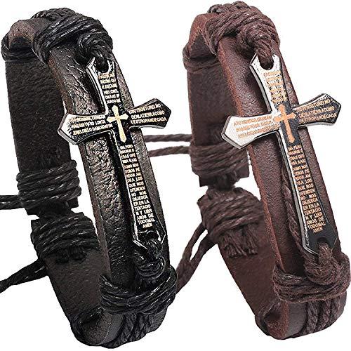 2 Pcs Fashion Alloy Letter Scripture Bangle Cross Cuffs Black and Brown Leather Bracelet