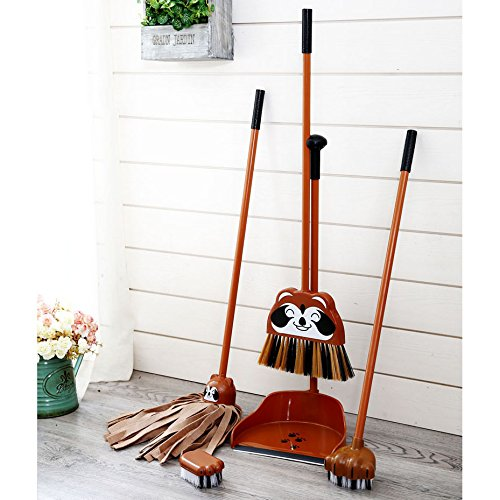 Aboo 5 Pieces Removable Cute Cleaning Tool Set Mop Dustpan Broom Brush and Long Handle Brush Animal Pattern for Children Classroom Home (Brown) by Aboo (Image #4)