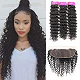 Brazilian Deep Wave 3 Bundles with Free Part Frontal (24 26 28+20) 100% Unprocessed Virgin Human Hair Natural Color Can Be Dyed and Bleached