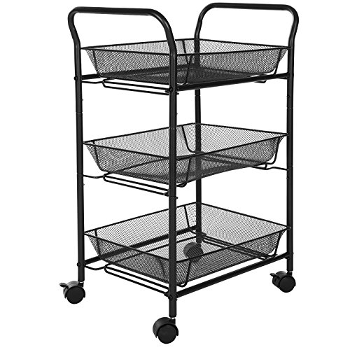 SONGMICS 3-Tier Rolling Storage Cart for Kitchen Pantry Bathroom Utility Cart with Removable Baskets Black UBSC72B
