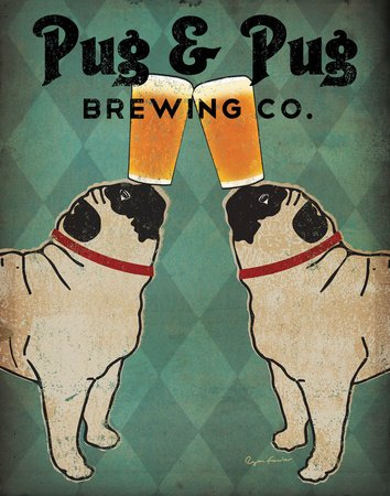 Pug and Pug Brewing Collections Art Poster Print by Ryan Fowler, 11x14 - Print Title: Pug and Pug Brewing Artist: Ryan Fowler Size: 11 x 14 - wall-art, living-room-decor, living-room - 51%2BgYfs NeL -