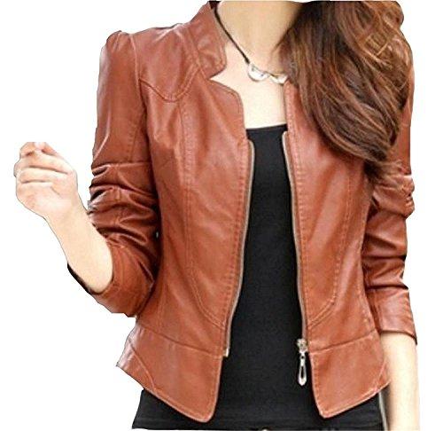 LOKOUO Fashion Women's Pu Leather Moto Solid Slim Zipper Blazer Jacket Light Tan Medium