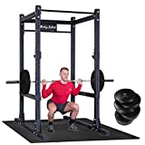 Body Solid SPR1000 Power Rack with 260lb. Bumper Weight Set, Heavy SHOK-LOK Mat