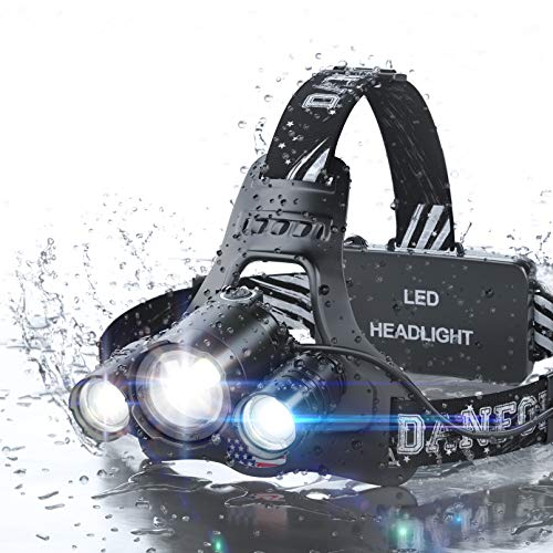 DanForce Headlamp, LED 2019 Version, Rechargeable Headlamp CREE 1080 Lumens Brightest Zoomable Head lamp Flashlight. Headlight USB Rechargeable, IPX45 HeadLamps. Best for Camping, Outdoors, - 6000 Am