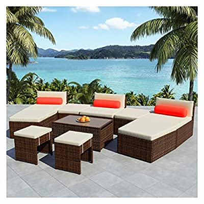 HomyDelight Outdoor Furniture Set, Modular Garden Lounge Set 25 Pieces Poly Rattan Brown