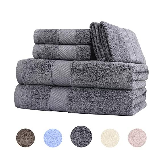 Wonwo 100% Cotton Bath Towels, 600 GSM Luxury 6 Piece Set - 2 Bath Towels, 2 Hand Towels, and 2 Washcloths - Gray - VALUABLE PACK & SUITABLE SIZE--Wonwo bath towel set comes with a convenient 6-piece set for home travel and fitness use. Provides users with all basic bathroom drying needs in one convenient bundle. It includes two bath towels (27x55 inches), two hand towels (13x28 inches), and two wash cloths (13x13 inches) appropriate for all ages. 100% COTTON--Towels are made of high quality natural cotton and have high absorbency. Enjoy the ultimate smooth experience and soft touch. Perfect for babies. The breathable plush is easier to dry. It's safe to use. COMFORTABLE & DURABLE--The bath towel set is 600 GSM, which makes them thicker, stronger, extra absorbent, and more comfortable than others. These towels are elegantly woven to produce an exquisite, high quality, and durable material. Double stitching on all hems insures extra durability. - bathroom-linens, bathroom, bath-towels - 51%2BgYnbuQNL. SS570  -
