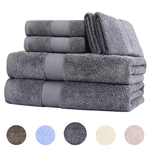 Wonwo 100% Cotton Bath Towels, 600 GSM Luxury 6 Piece Set - 2 Bath Towels, 2 Hand Towels, and 2 Washcloths - Gray
