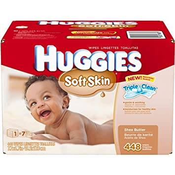 HUGGIES Soft Skin Shea Butter Baby Wipes, 448 she