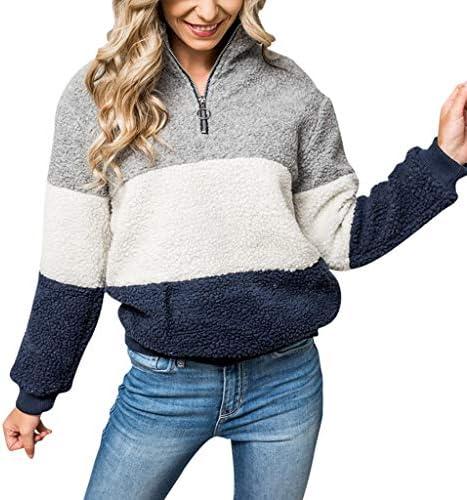 BALABA?? Womens Long Sleeve Colorblock Pullover Fleece Sweatshirt Tops 34 Zip Fleece Pullover Womens / BALABA?? Womens Long Sleeve Colorblock Pullover Fleece Sweatshirt Tops 34 Zip Fleece Pullover Womens
