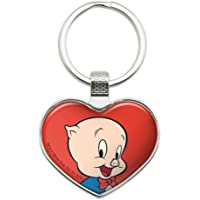 Looney Tunes Porky Pig Keychain Heart Love Metal Key Chain Ring