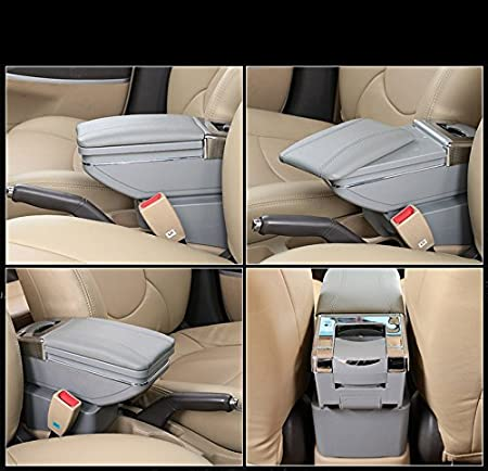 muchkey car Center Console Cover for 2014-2016 Toyota Yaris L 2017-2018 Toyota Vios FS 2014-2018 Toyota Vios car armrest Cover PU Leather Interior Decoration Accessories Black