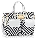 Fashion Chevron Diaper Bag by MB Krauss – Large Women's Diapering Tote with Multiple Pockets, Black, White and Grey Luxurious Design – for Every Day Use (Voyager Tote)