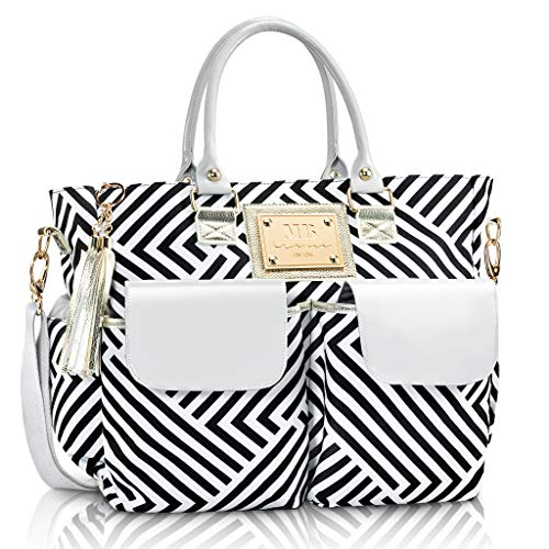 Fashion Chevron Diaper Bag by MB Krauss - Large Womens Diapering Tote with Multiple Pockets, Black, White and Grey Luxurious Design - for Every Day Use (Voyager Tote)