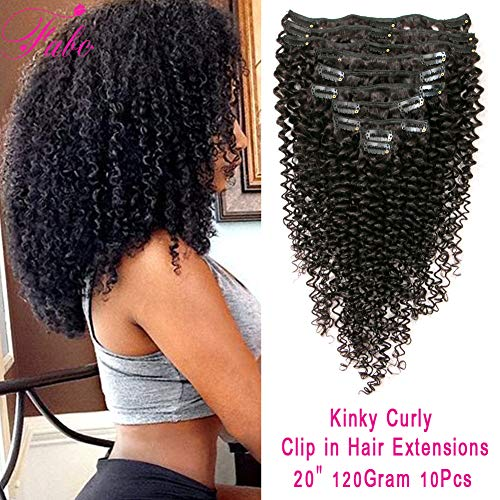 Kinky Curly Clip in Hair Extensions Brazilian Virgin Remy Hair 3C 4A Kinkys Curly Clip Ins For Black Women Natural Black Color 10Pcs 120Gram/Set Doule Weft Fabc Hair(20 Inch,Kinky Curly)