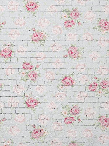 Leowefowa 3X5FT Floral Backdrops Shabby Chic Flowers on White Brick Wall Backdrops for Photography Interior Tv Wall Decoration Wallpaper Girls Happy Mother's Day Photo Background Studio Props]()