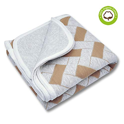 - Organic Cotton Toddler Blanket Throw 40x42, Breathable & Allergy-Free Baby Crib/Bed Blanket for Boys and Girls, Brown Square