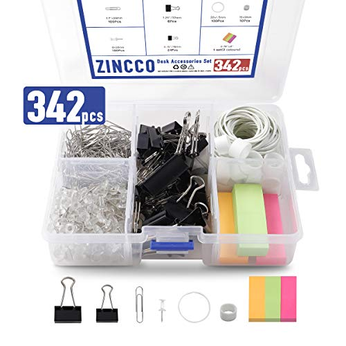 Bulk Office Supplies (342 Pcs Small Office Supplies Kit with Storage Container, Metal Binder Clips Medium/Small, Paper Clips, Assorted Rubber Bands, Page Markers, Push Pins, for Home, Office, School,)